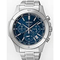 Seiko Chronograph Blue Dial Stainless Steel Mens Watch SSB103 from Seiko