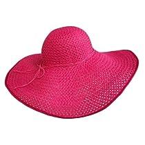 """Luxury Divas Hot Pink 8"""" Wide Large Brim Straw Beach Floppy Hat"""