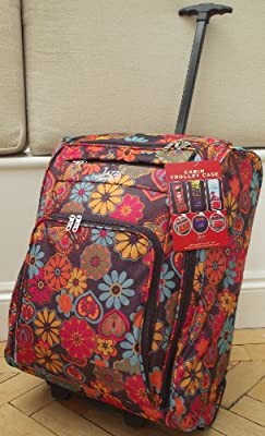 multi coloured Pink butterfly floral print Travel Holdall hand luggage carry on trolley Bag On Wheels CABIN APPROVED