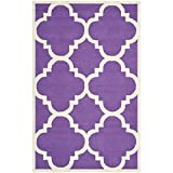 Safavieh Cambridge Collection CAM140K Handmade Purple and Ivory Wool Area Rug, 5 feet by 8 feet (5' x 8')