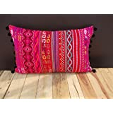 """Pink Acrylic Throw Pillow Cover Multicolored Dobby Cushion Bohemian Tribal Lumbar Pillow Cover Size 14""""X 21"""""""