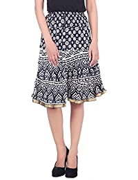 MSONS Women's Black & White Multi Printed A-line Short Skirt In Cotton Fabric - Free Size
