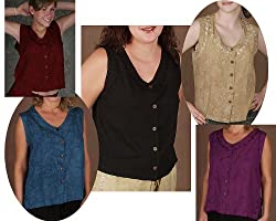Button Blouse, Sleeveless - Embroidered Rayon, 5 Color Choices!