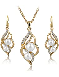 Long Way Fashion Gold/Silver Plated Austrian Crystal Necklace Drop Earrings Set Imitated Pearl Jewelry Set Wedding...