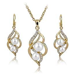Long Way Crystal Necklace Drop Earrings Set Pearl Jewelry Set Wedding Jewelry For Women