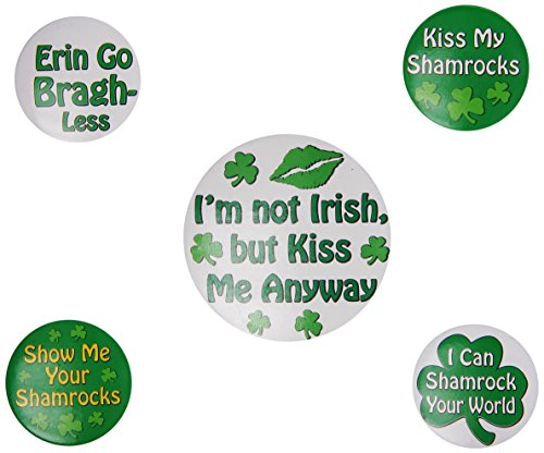 St Patrick's Humorous Saying Party Buttons (asstd designs)    (5/Pkg)