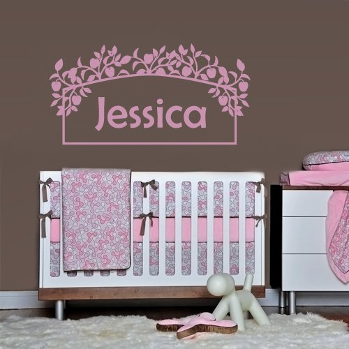 Wall Decals Sticker Bedroom Kids Nursery Baby Custom Name Monogram Personalized Flowers Sign Words Frame (Z1095) front-952880