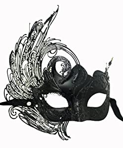 Venetian Black Mask w/ Metal Swan Laser-cut on Side and Crystals Decorate