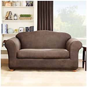 Sure Fit Stretch Leather 2 Piece Loveseat