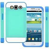 TPU Silikon Strass Glitzer Hülle Hüllen Schutzhülle Tasche Etui Protection Case Protective Cover für Samsung Galaxy S3 S III I9300 I9305 Hellblau+Blau+Weiß