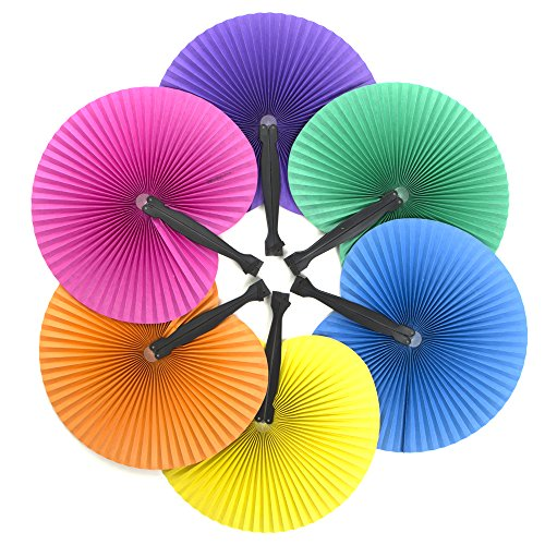 24 Solid Color Paper Fans