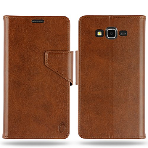 Cool Mango Business Flip Cover for Samsung Galaxy J7 - 100% Premium Faux Leather Flip Case for Galaxy J7 with 360 Degree Stitching, Magnetic Lock, Card & Currency Wallet - Limited Time Offer Pricing (Cocoa Brown)