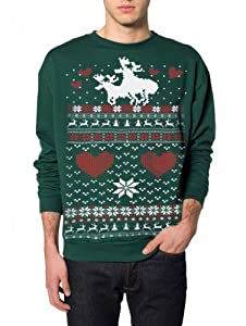Skip N' Whistle Men's Ugly Christmas Sweater Moose Love Pullover Cat Sweatshirt