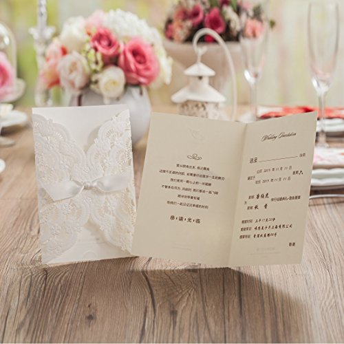 Wishmade 50x Elegant White Laser Cut Wedding Invitations Cards Kits with Lace and Hollow Flowers Card Stock Paper for Birthday Anniversary Baby Shower Graduation Quinceanera(set of 50pcs) CW5111 1