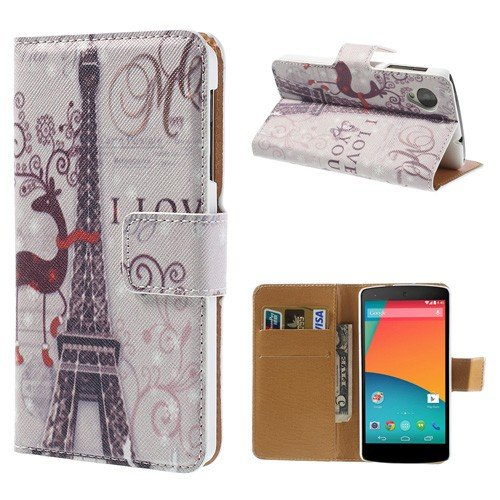Jujeo I Love You Eiffel Tower Stand Leather Case For Lg Google Nexus 5 D820 D821 With Card Slots - Non-Retail Packaging - Multi Color