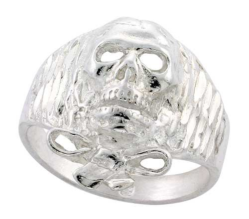 Sterling Silver Skull Ring w/ Bow Tie Beard Diamond Cut Finish 13/16 inch wide, size 11.5