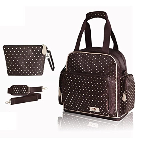 Damai Large Dots Backpack Diaper Bag 3 Carrying Options (Coffee) front-345857