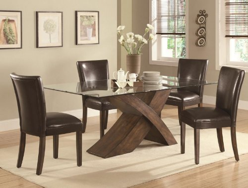 "Cheap 5pc Dining Table Set with Glass Top ""X"" Base in Deep Brown Finish (VF_DINSET-103051-103053)"