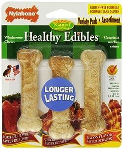 Nylabone Healthy Edibles Bones, 3-Bone Variety Pack, Petite