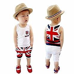 Yistu Cute Unique Cool Baby Boys Union Jack Outfits Vest Tops Pants Set Clothes