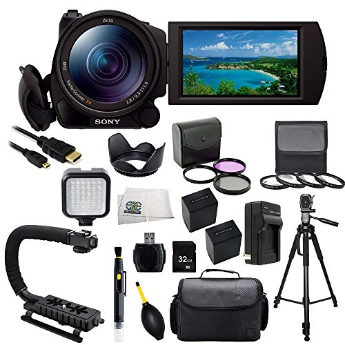 Sony Fdr-Ax100/B 4K Video Camera With 3.5-Inch Lcd (Black) With Sse Accessory Bundle Kit Which Includes 3 Piece Multi-Coated Filter Kit, 4 Piece Macro Closeup Lens Set, Lens Tulip Hood, 2 Replacement Np-Fv100 Batteries, Rapid Travel Charger, Micro Hdmi, L