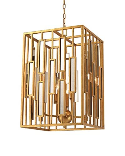Artistic Golden Gate 4-Light Pendant, Gold Leaf/Clear