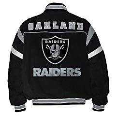 Oakland Raiders Full Zip Suede Jacket Size Small by nfl
