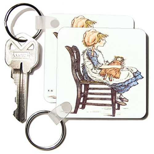Kc_174018_1 Florene - Victorian Kids Illustrations - Image Of Greenaways Child With Doll - Key Chains - Set Of 2 Key Chains front-1012982