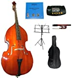 Merano 3/4 Size Acoustic Upright Bass with Bag,Bow,Bridge+2 Sets of Strings+Black Music Stand+Rosin+Metro Tuner