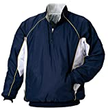 ZETT(ゼット) 野球用 軽量中綿長袖ハーフジップジャンパー BOV400 ネイビー×ホワイト XO