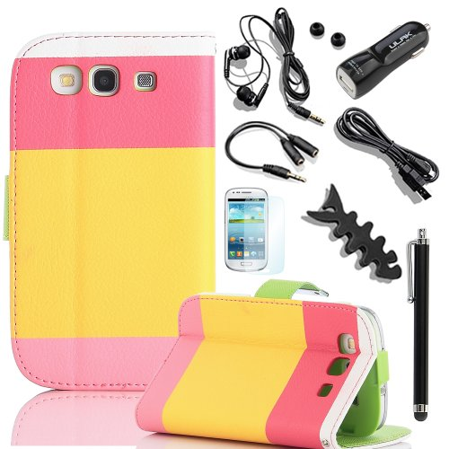 Pandamimi Ulak Colorful Pu Leather Wallet Type Magnet Design Flip Case Cover For Samsung Galaxy S3 I9300 +Screen Protector/Stylus/Car Charger/Usb Cable/Earphone Splitter Cable (1 In 2 Out), Fishbone Shape Earphone Cord Winder (At&T, Verizon, T-Mobile,
