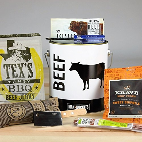 ManBuckets BEEF Bucket - A Manly One Gallon Steel Paint Bucket Packed With Awesome Jerky and Meats, It's A Gift Basket for Real Men. He'll Love Prying It Open With His Own ManBuckets Screwdriver.