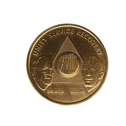 18 Year Bill & Bob Founders Edition Bronze AA (Alcoholics Anonymous) - Sober / Sobriety - Birthday - Anniversary Recovery Medallion / Coin / Chip - 1