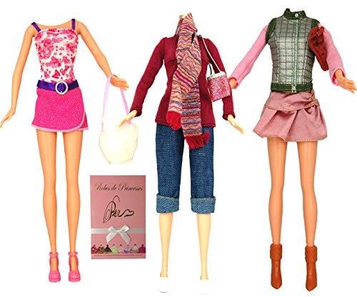 """Lotto di Vestiti """"VISITE"""" per bambole Barbie, Disney ed altri personaggi - """"serie limitata"""""""