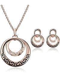 Eskay Pink Alloy Metal Necklace Set For Women