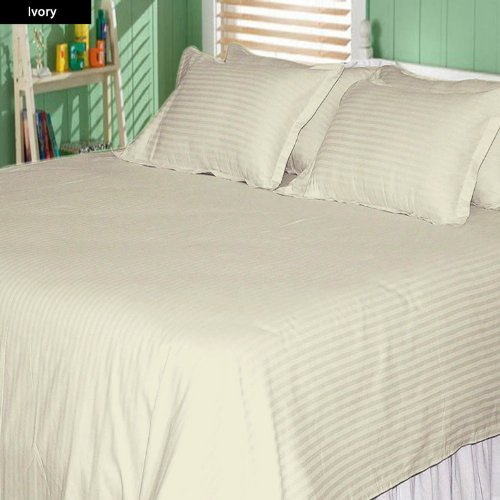 500 Thread Count Egyptian Cotton Stripe Ivory Short Queen Sheet Set front-845140