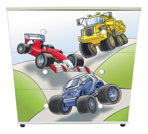 Car Design Childrens/Kids White 3x Drawer Chest Bedroom Furniture