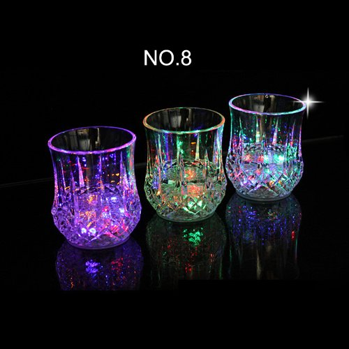 Home-Cube 3 Pieces Flashing Led Wine Glass Light Up Barware Drink Cup