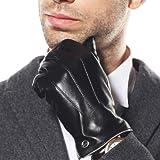 【ELMA】上等品 メンズ 皮 本革 羊革 レザー  ナッパ革 手袋 グローブ 手ぶくろ メッキメタルlogo 燕尾嵌め口 スマートフォン対応  全て内縫い  秋冬 黒 ブラウン EM011NC1