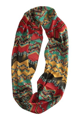Simplicity Red Infinity Scarf With Multi Colored Geo Print, Red/Multi