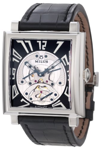 Milus Men's HERT001F Stainless Steel with Black Dial Watch