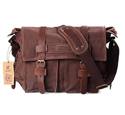 Kattee British Style Retro Mens Canvas + Leather Messenger Traval Shoulder Bag Fits 15 Inch Laptop