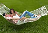 Unvert Extra Heavy Duty Cotton Hammock Double Person Solid Wood Spreader Outdoor W/hook (Cotton- White, HD 2-Person 500LB)