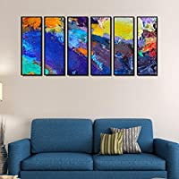 999Store Fiber Framed Printed Multicolour Abstract Art Panels Wall Painting- 6 Frames