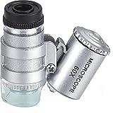 Generic Mini 60x LED Aluminium Pocket Microscope Magnifier Adjustable Loupe With UV LED Illumination Lighting Money Currency Detect Detecting Loupes