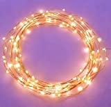 The Original Starry String Lights Warm White Color LED's on a Flexible Copper Wire - 20ft LED String Light with 120 Individually Mounted LED's. Set the Mood You Want Anywhere! - Perfect For Creating Instant Appeal in Any Setting - Parties - Bedrooms - or an Intimate Environment Anywhere in the Home - Waterproof LEDs