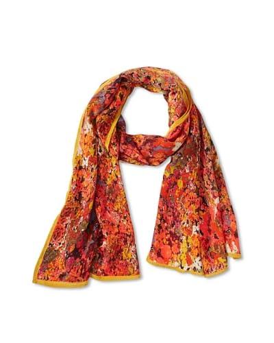 Vismaya Women's Floral Silk Scarf, Red/Black