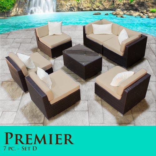 Black Friday Premier Modern 7 Piece Outdoor Wicker Patio
