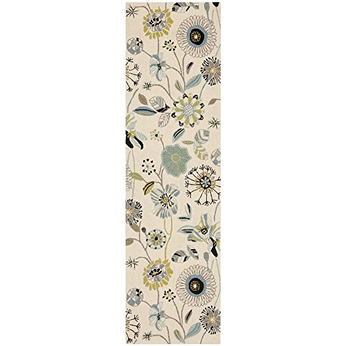 Safavieh Four Seasons Collection FRS482C Hand-Hooked Ivory and Blue Indoor/ Outdoor Runner, 2 feet by 6 feet (2' x 6')
