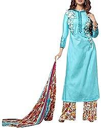 VIDA Women's Cotton Salwar Suit Material (Blue)